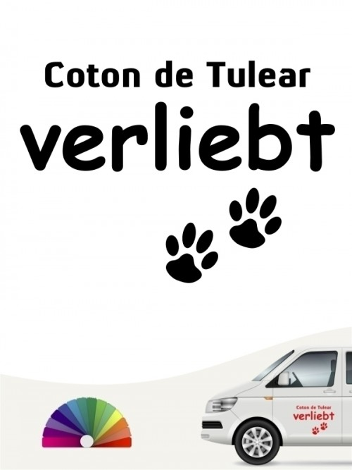 Hunde-Autoaufkleber Coton de Tulear verliebt von Anfalas.de