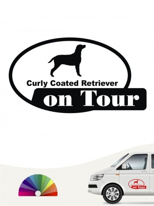Curly Coated Retriever on Tour Aufkleber anfalas.de