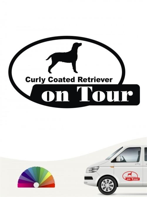Curly Coated Retriever on Tour Aufkleber anfalas.de