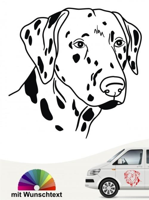 Dalmatiner Kopf mit Wunschtext Autosticker anfalas.de