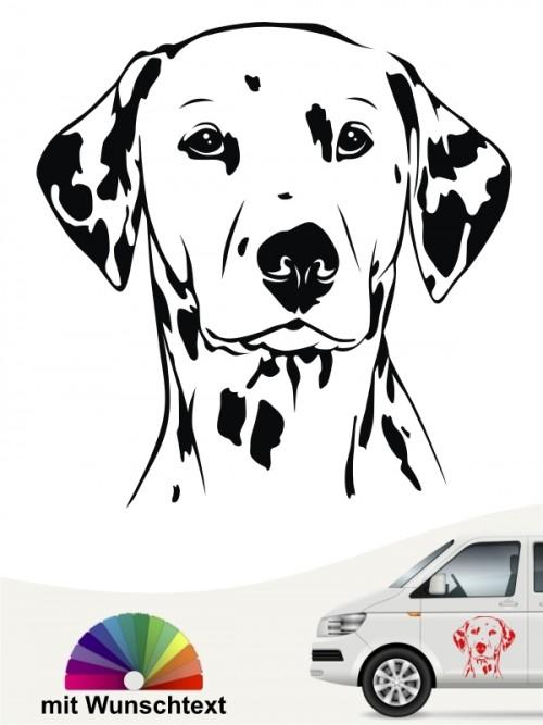 Dalmatiner Kopf Hundeaufkleber mit Wunschtext anfalas.de