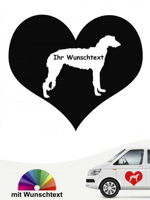 Deerhound im Herzmotiv mit Wunschname anfalas.de