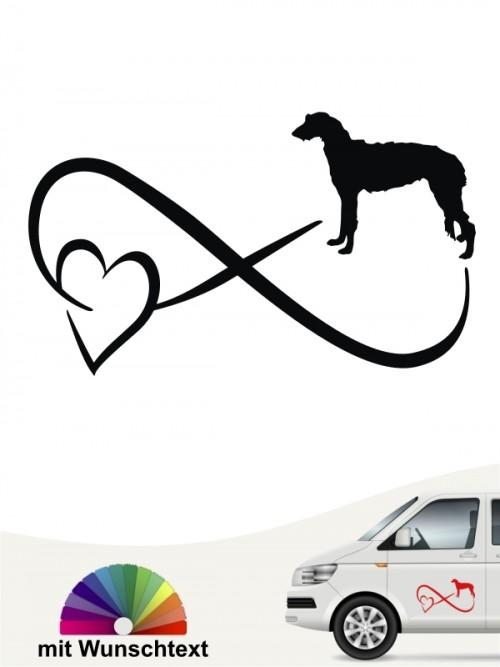 Deerhound Autoaufkleber mit Wunschtext von anfalas.de