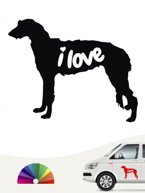 Deerhound i love Aufkleber von anfalas.de