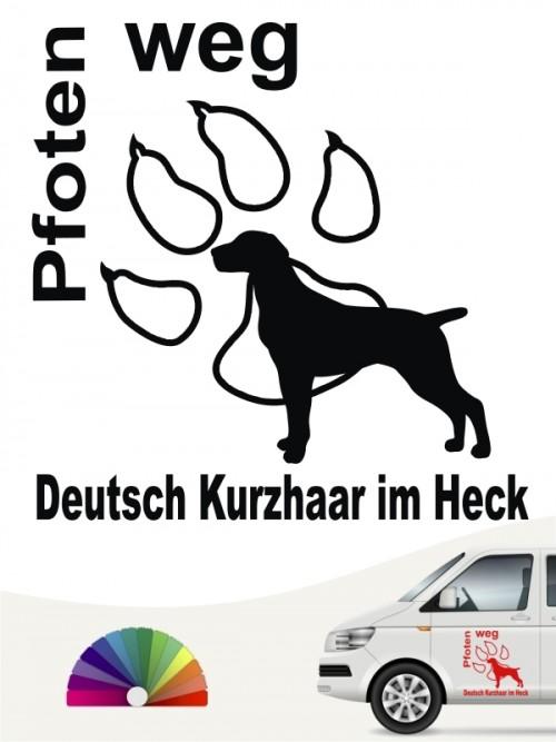 Pfoten weg Deutsch Kurzhaar im Heck Aufkleber anfalas.de