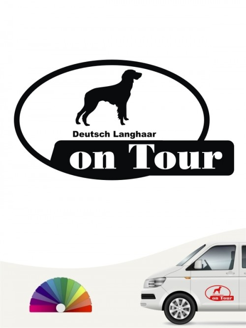 Deutsch Langhaar on Tour Autosticker anfalas.de