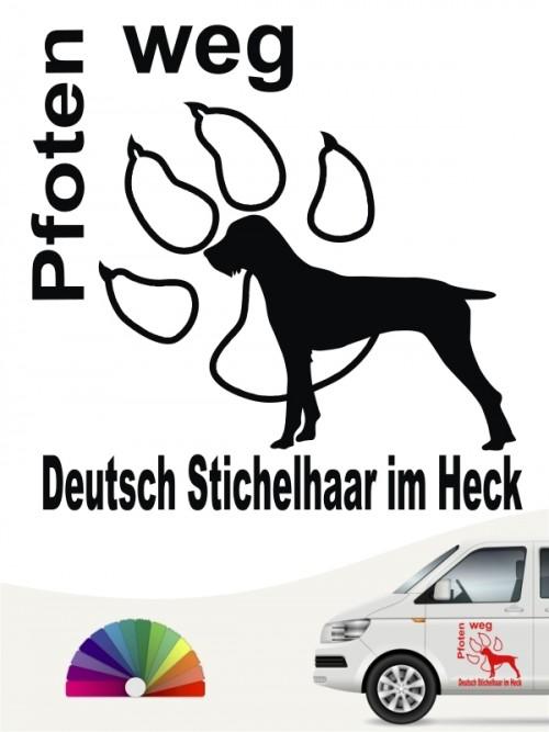 Deutsch Stichelhaar Pfoten weg Autosticker anfalas.de