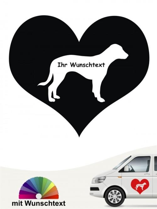 Deutsche Bracke Herzmotiv mit Wunschtext anfalas.de