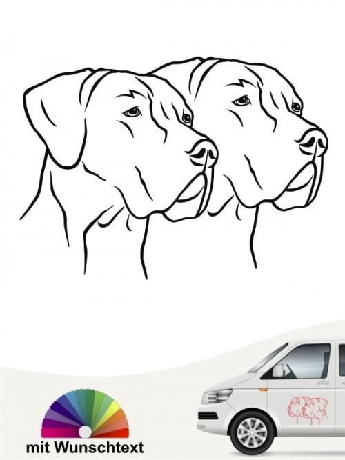 Doppelte Doggen Köpfe Autoaufkleber mit Wunschtext anfalas.de