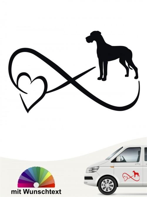 Deutsche Dogge Autoaufkleber mit Wunschtext von anfalas.de
