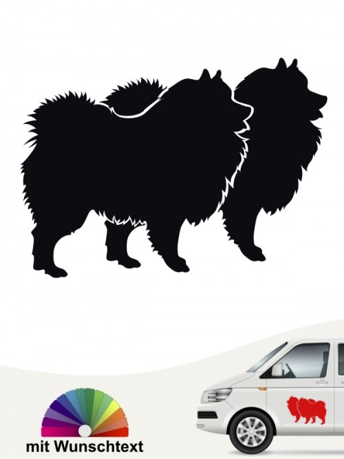 Doppelte Deutsche Spitz Silhouette Hundeaufkleber anfalas.de