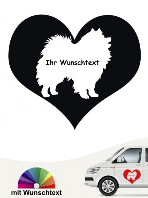 Deutsche Spitz Herzmotiv Autosticker mit Wunschname anfalas.de