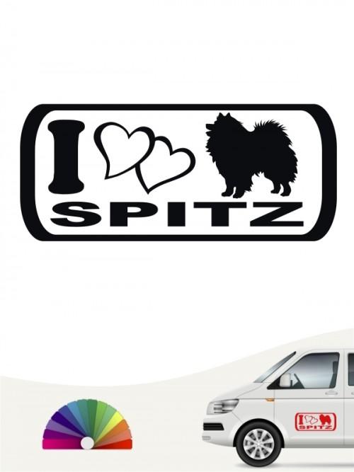 I Love Spitz Hundeaufkleber versch. Farben anfalas.de