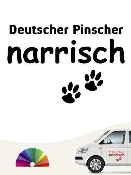 Hunde-Autoaufkleber Deutscher Pinscher narrisch von Anfalas.de