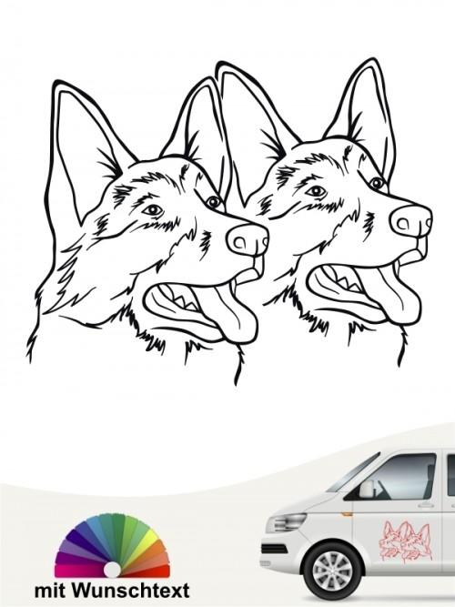 Doppelte Schäferhund Köpfe Autoaufkleber anfalas.de