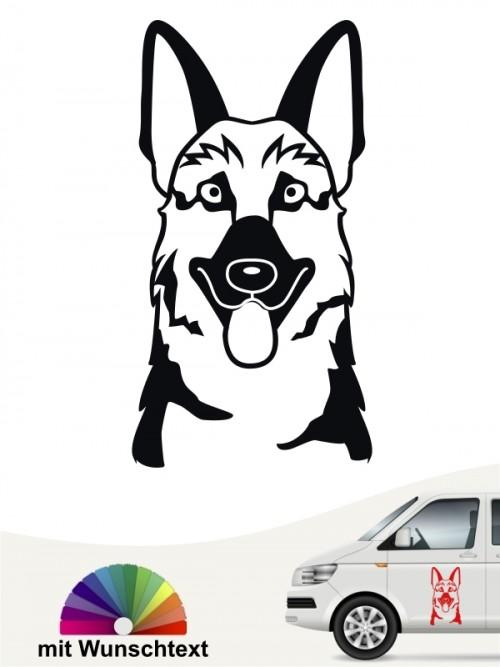 Hundeaufkleber Dt. Schäferhund Comic Kopf anfalas.de