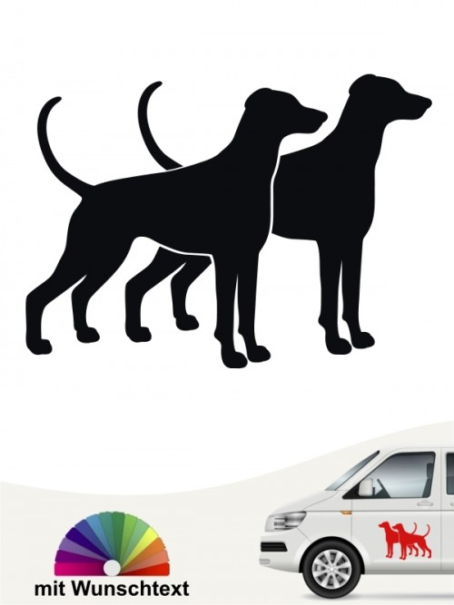 Doppel Silhouette Dobemann Hundeaufkleber anfalas.de
