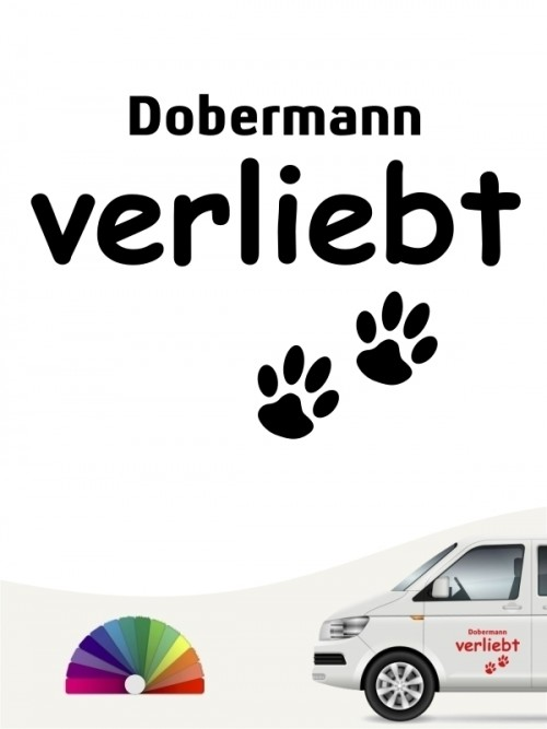 Hunde-Autoaufkleber Dobermann verliebt von Anfalas.de