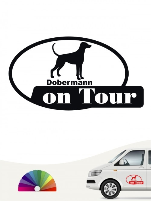 Dobermann on Tour Autoaufkleber versch. Farben anfalas.de