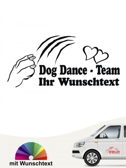 Dogdancing Team Aufkleber mit Wunschtext von anfalas.de