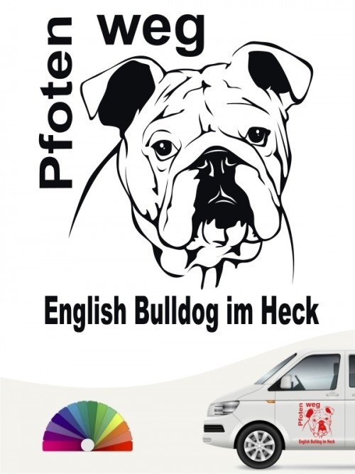Pfoten weg English Bulldog Aufkleber anfalas.de