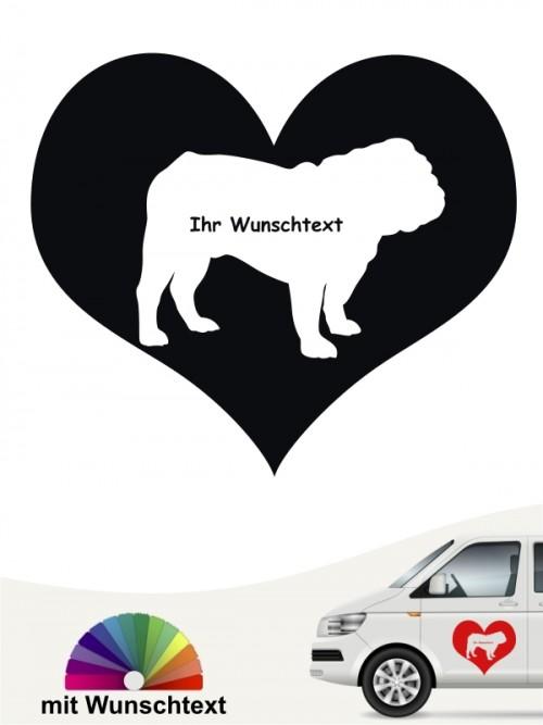 English Bulldog Herzmotiv mit Wunschname anfalas.de