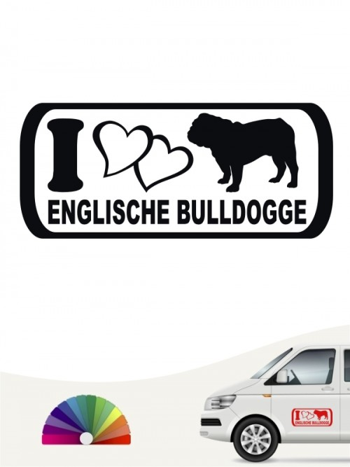 I Love English Bulldog Aufkleber anfalas.de