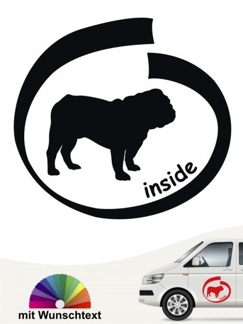 English Bulldog inside Aufkleber mit Wunschtext anfalas.de