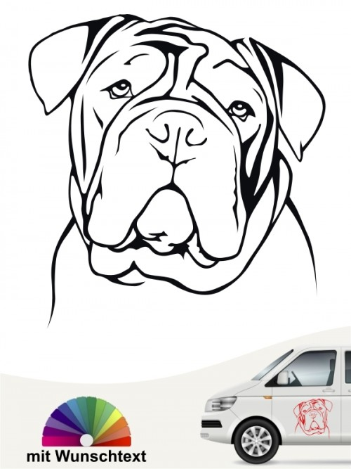 English Bulldog Kopf mit Wunschtext anfalas.de