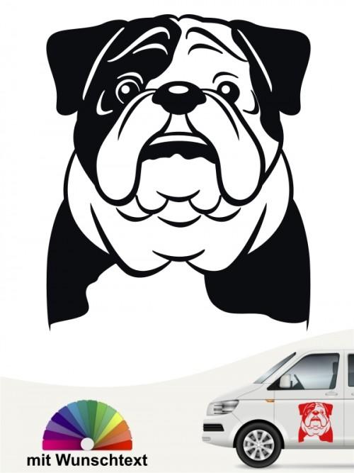 English Bulldog Aufkleber mit Wunschtext anfalas.de