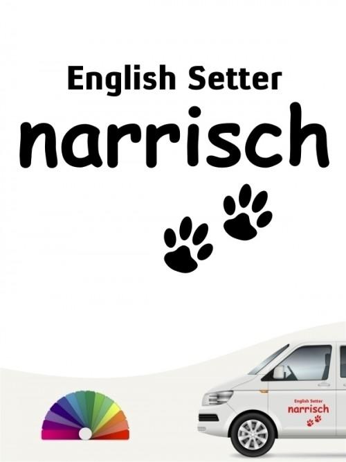 Hunde-Autoaufkleber English Setter narrisch von Anfalas.de