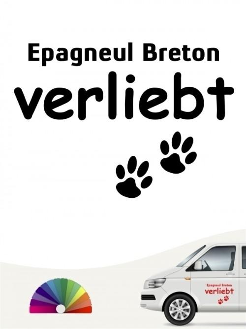 Hunde-Autoaufkleber Epagneul Breton verliebt von Anfalas.de
