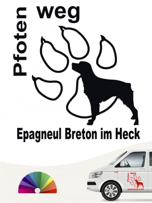Pfoten weg Autoaufkleber Epagneul Breton anfalas.de