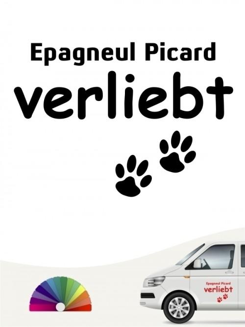 Hunde-Autoaufkleber Epagneul Picard verliebt von Anfalas.de