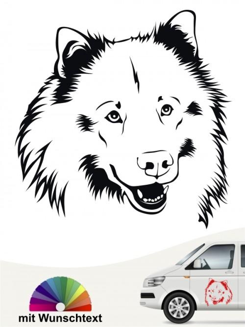 Eurasier Kopfmotiv Autosticker mit Wunschtext anfalas.de