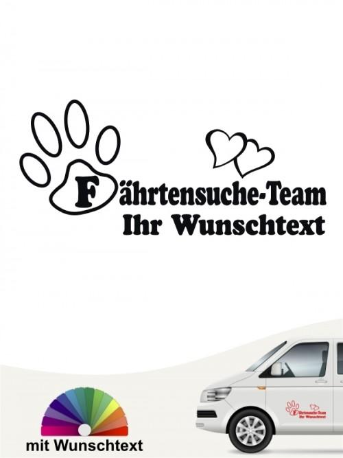 Fährtensuche Team Aufkleber mit Wunschtext von anfalas.de