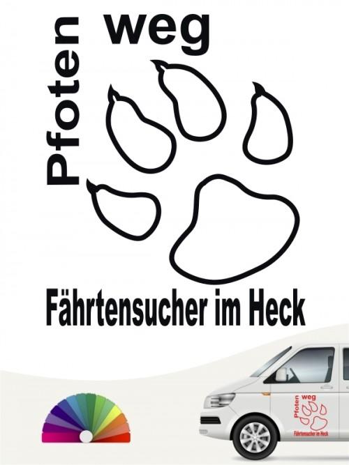 Pfoten weg Fährtensucher im Heck Autosticker von anfalas.de