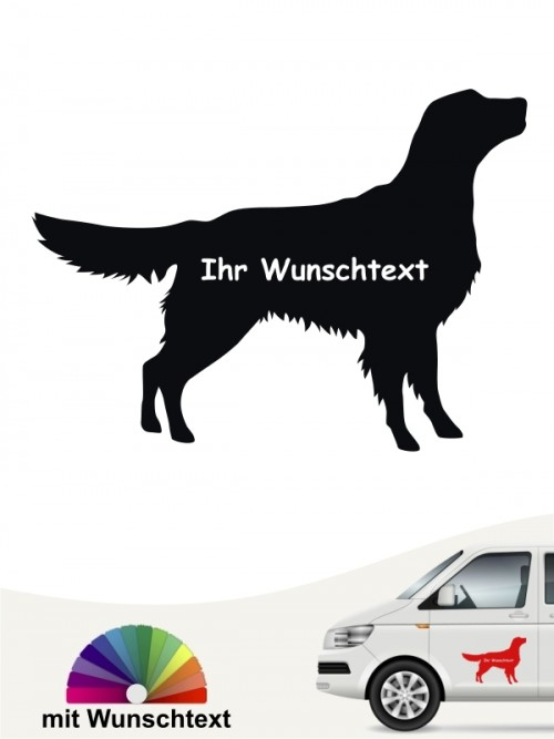 Flat Coated Retriever Silhouette mit Wunschname anfalas.de