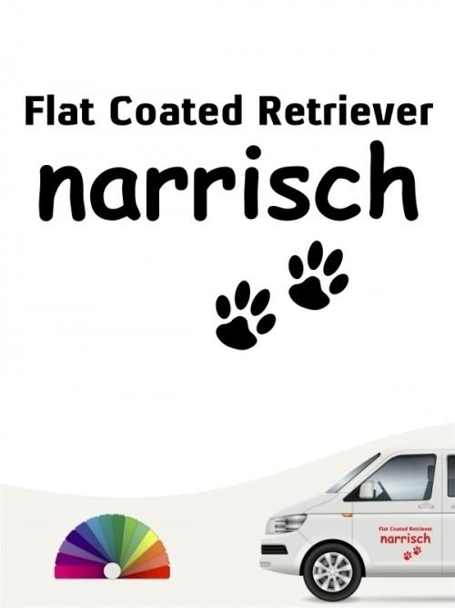 Hunde-Autoaufkleber Flat Coated Retriever narrisch von Anfalas.de