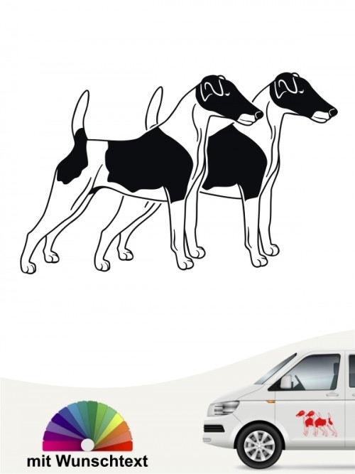 Fox Terrier doppel Silhouette Aufkleber mit Wunschtext anfalas.de