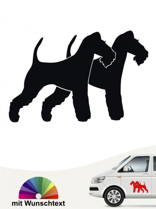 Doppel Silhouette Fox Terrier Drahthaar Sticker mit Wunschtext anfalas.de