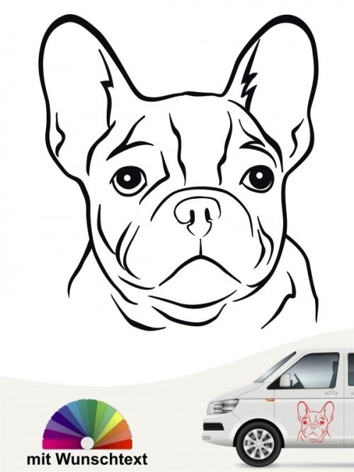 Französische Bulldogge Kopf autoaufkleber mit Wunschtext anfalas.de