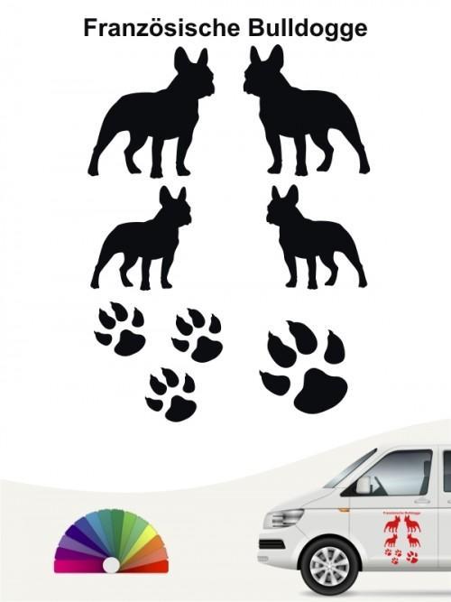 Französische Bulldogge Autoaufkleber Set anfalas.de