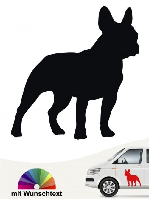 Französische Bulldogge Heckscheibenaufkleber mit Wunschtext anfalas.de