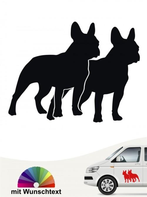 Französische Bulldogge doppel Silhouette Autoaufkleber anfalas.de