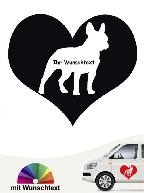 Französische Bulldogge Herzmotiv Autosticker mit Wunschname anfalas.de