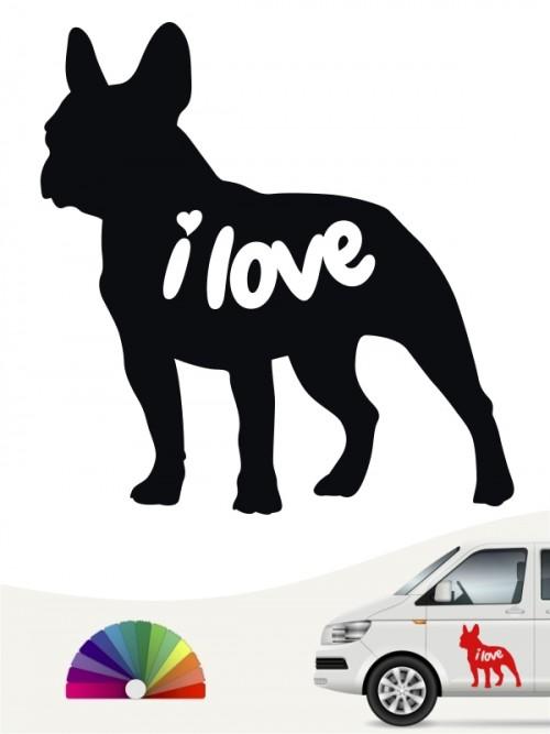 Französische Bulldogge i love Aufkleber von anfalas.de