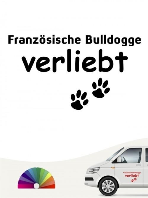 Hunde-Autoaufkleber Französische Bulldogge verliebt von Anfalas.de