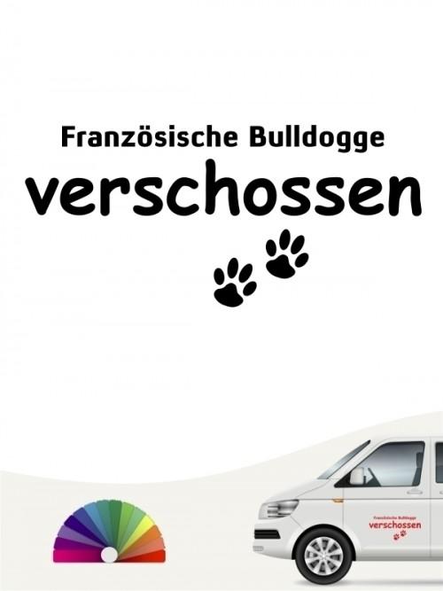 Hunde-Autoaufkleber Französische Bulldogge verschossen von Anfalas.de