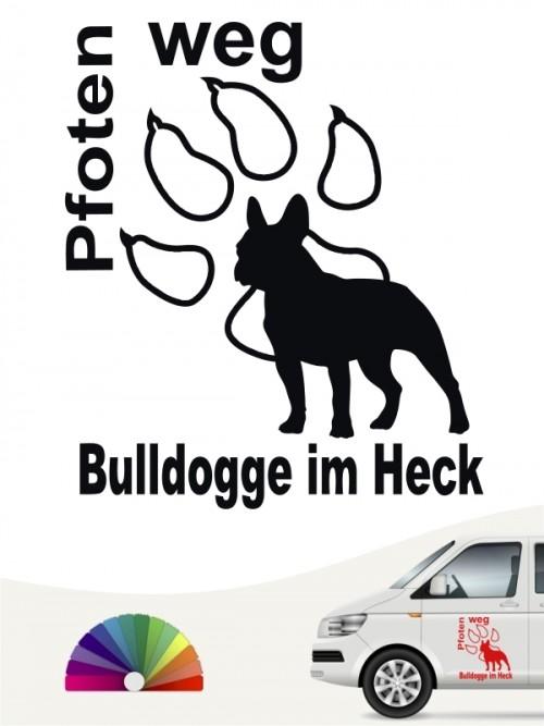 Pfoten weg Bulldogge im Heck Autosticker anfalas.de